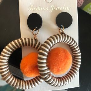 Jewelry - Pom Pom Hot Orange Zebra Striped Earrings!